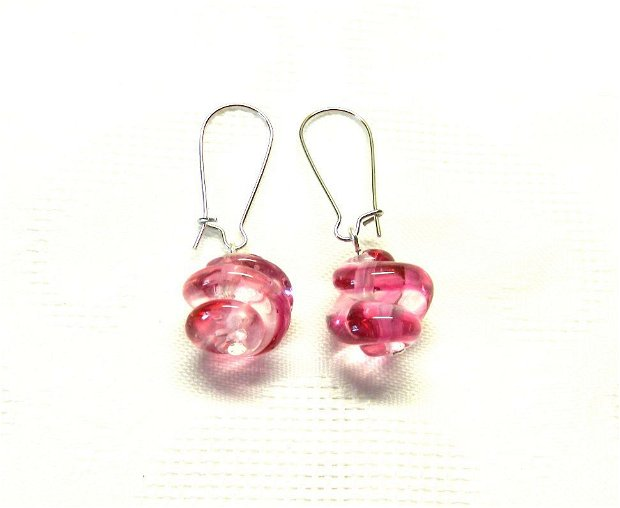 Cercei spirale lampwork roz