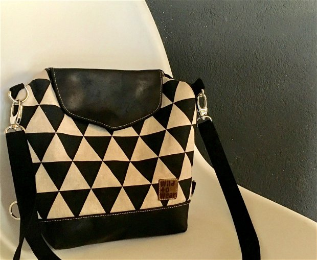Geanta HEXAGON, 2 in 1, geanta umar si ruscsac mic, negru si alb geometric