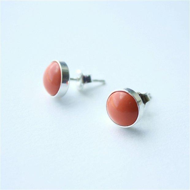 """Cercei """"Little Atoms"""" din argint 925 și perle Swarovski - Coral"""