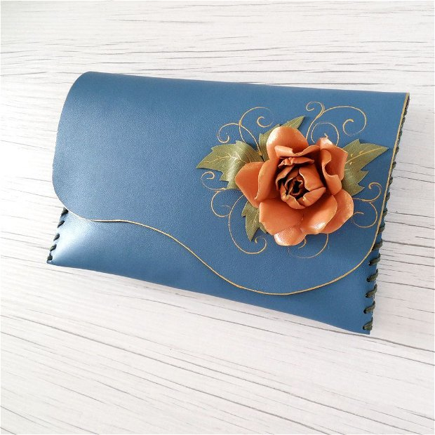 poseta plic handmade unicat din piele - Orange Rose
