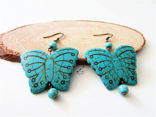 Cercei fluturi turcoaz, cercei turcoaze, cercei fluture vintage