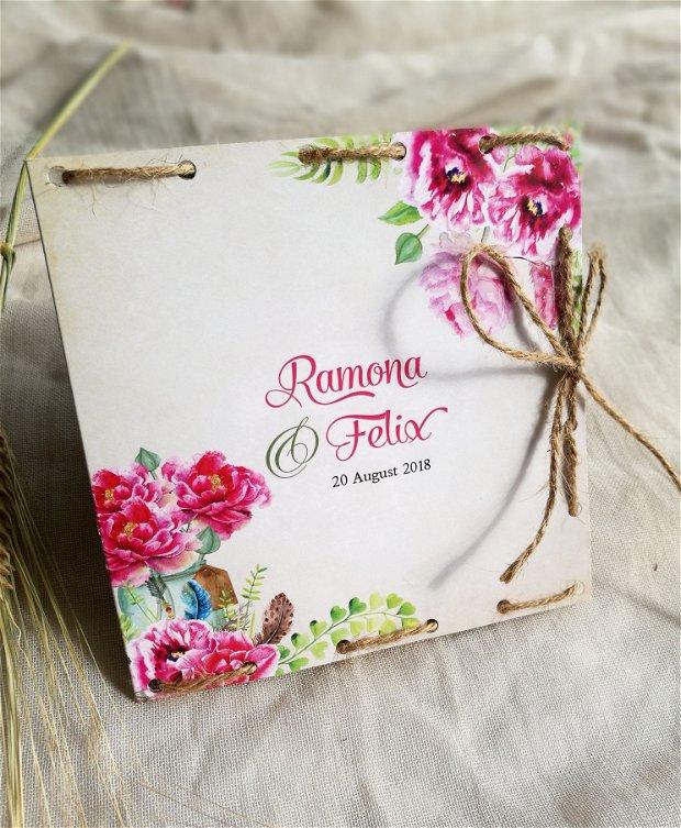 Invitatie nunta rustica, flori roz, fara plic, sfoara, invitatie inedita