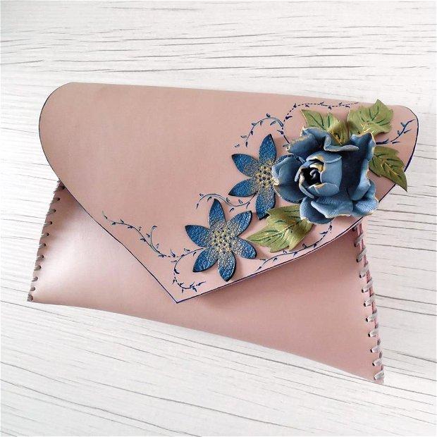 Poseta plic handmade unicat din piele naturala -Blue rose
