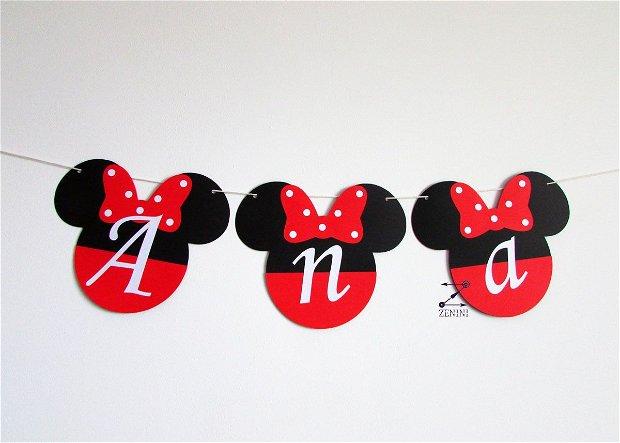 Ghirlanda botez Minnie Mouse, ghirlanda Minnie, banner botez, ghirlanda cu nume