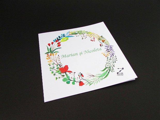 Invitatie nunta plante colorate, invitatie nunta colorata, invitatie nunta flori, invitatie botez flori