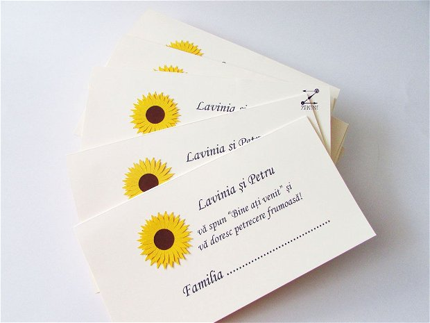 Placecard floarea soarelui, plic bani nunta, plic bani floarea soarelui, plic bani rustic