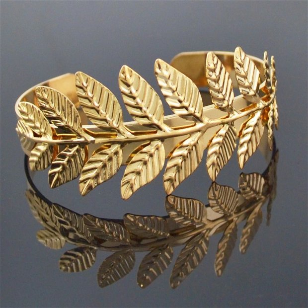 K0327 # Baza bratara, aliaj metalic auriu, frunza