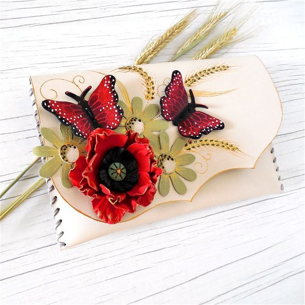 poseta plic handmade unicat din piele - Red Poppy And Butterflies