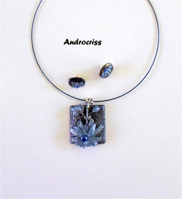 Blue set bijuterii din lut polimeric