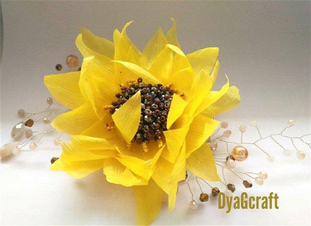 Accesoriu par mireasa Floarea Soarelui