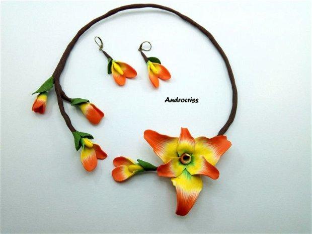 Flori ,set bijuterii din lut polimeric