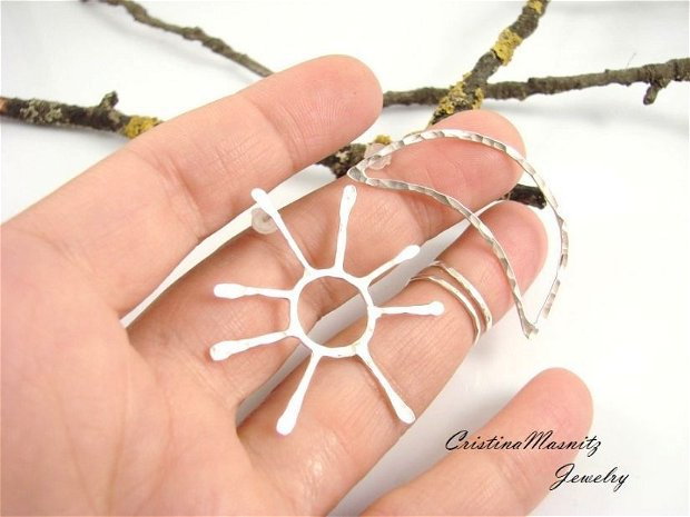 Cercei cu tija, supradimensionati sau mici, asimetrici, din argint 925, soare si luna
