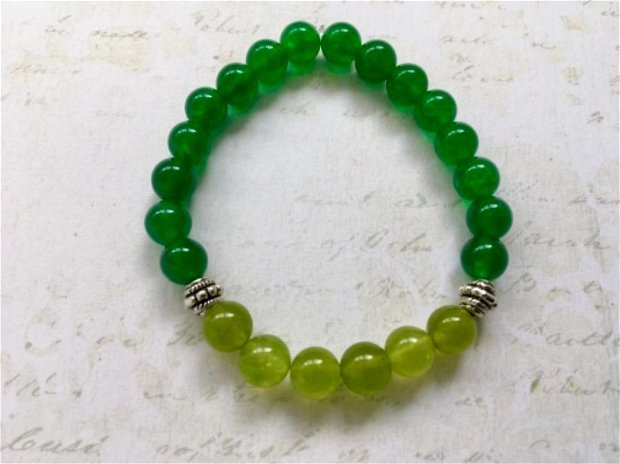 Bratara unisex jad verde & peridot