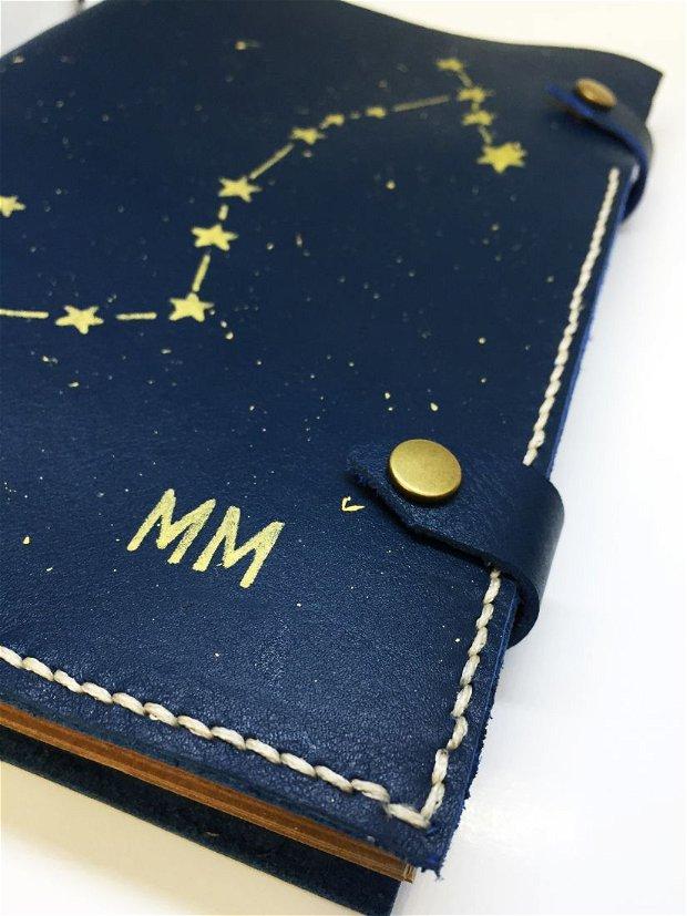 Agenda/Jurnal de piele cusut manual si personalizat