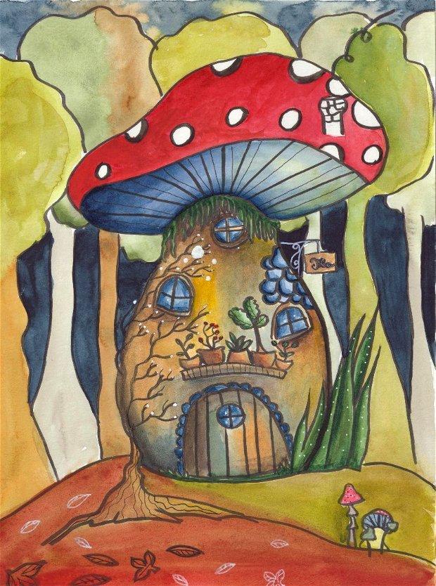 Print ilustrație originală Ceainăria din Ciupercă