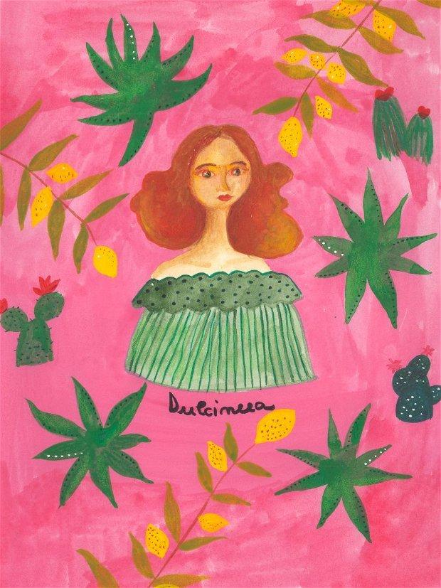 Print ilustrație originală Dulcineea