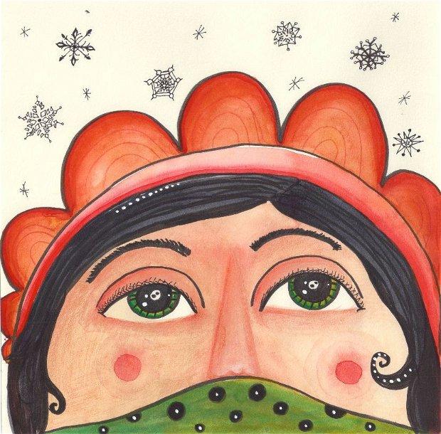 Print ilustrație originală Fetiță Aztecă