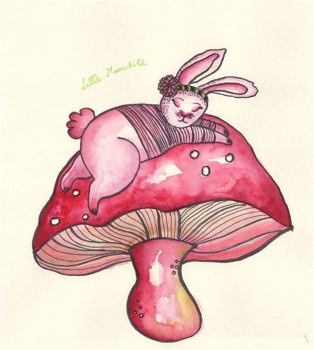 Print ilustrație originală Iepuraș pe ciupercă