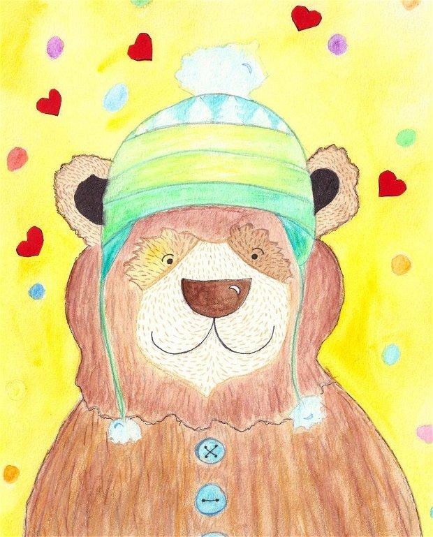 Print ilustrație originală Urs Inimioare