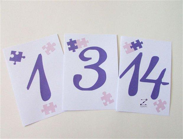 Numar de masa puzzle, numar masa nunta, numar masa botez, numere masa personalizate
