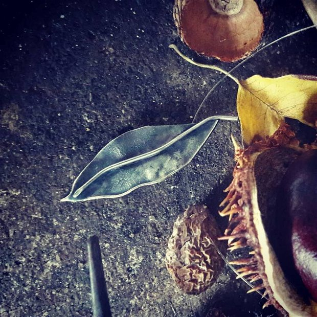 Pandantiv frunza din argint 925 reticulat si partial oxidat