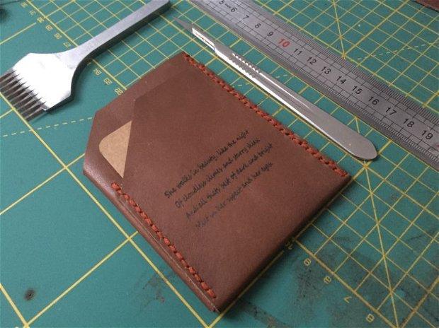 "Portofel ""Pocket"" din piele naturala reciclata, SLIM, personalizat prin gravura"