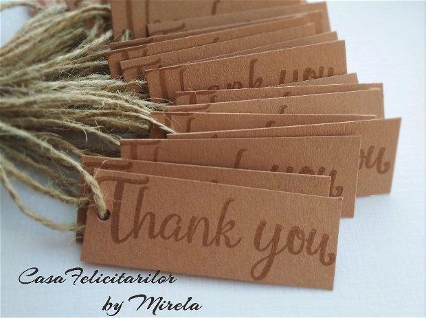 Set 35 etichete craft cu mesajul thank you