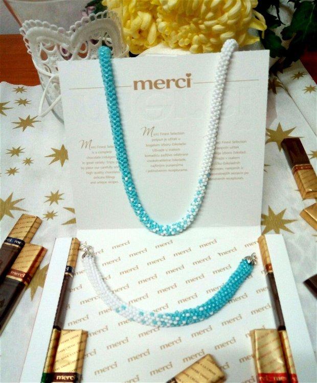 Set colier/brățară alb-bleu