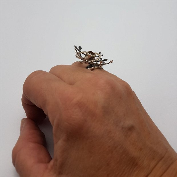 inel de autor, din argint 925 cu citrin, cu motiv geometric
