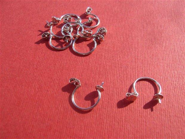 (2 bucati) Stopper ornamental din argint .925 rodiat pentru cercei, cu platou semi-rotund si pin pentru lipit margica semi-gauita