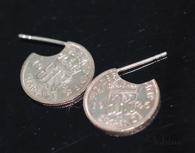 Cercei din argint, din monede sixpence, din Anglia, cercei rotunzi