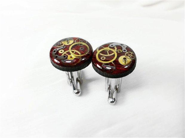 Butoni din lemn natural, Butoni steampunk, piese de ceas si rasina, butoni ocazie unicati nunta