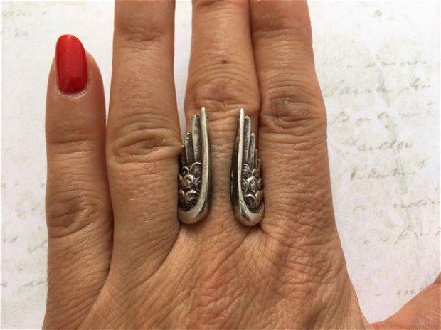 Inel zamac argintat aripi inger