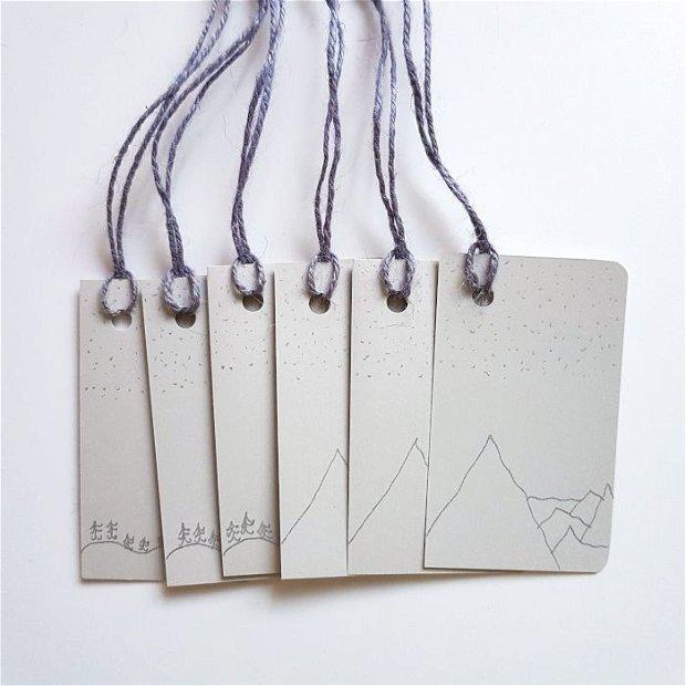 Etichete cadou - gri și argintiu (6 bucati)