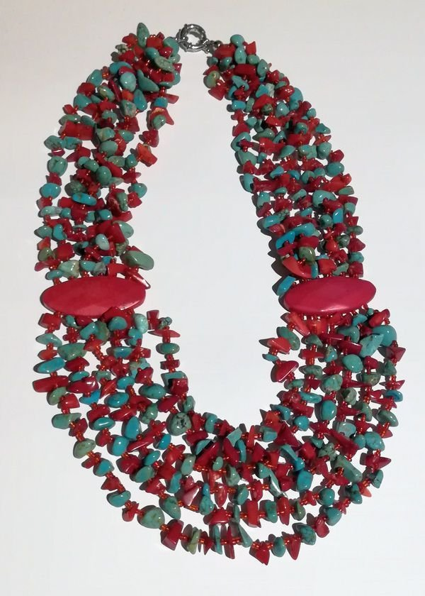 K0587 - Colier coral rosu si turcoaz bleu, multisir