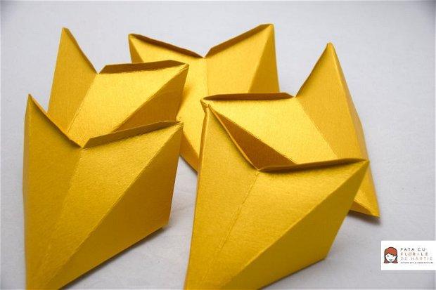 Kit DIY Stea de Hartie 3D, Auriu, 3 Buc