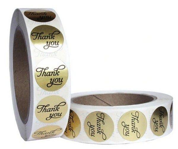 K0488 - (500b) Etichete autoadezive, hartie imprimata, Thank you, auriu, argintiu, alb, 25mm