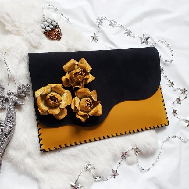 poseta plic handmade unicat din piele - Yellow Roses