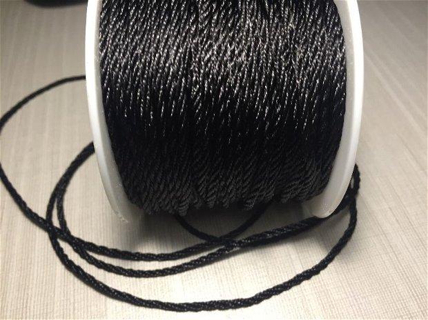 1m Șnur negru (2 mm) răsucit