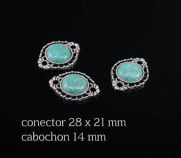 Link aliaj cu cabochon Turcoaz, KB177
