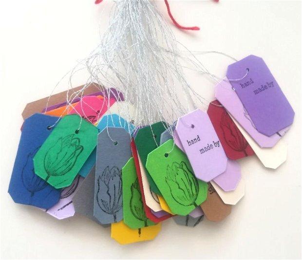 50 de etichete colorate, perforate si stampilate manual. Price tags. etichete pret