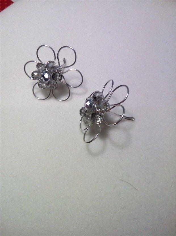 """Cercei model-""""Margaretă""""-din sârmă de cupru placată argint, aur, gilt"""
