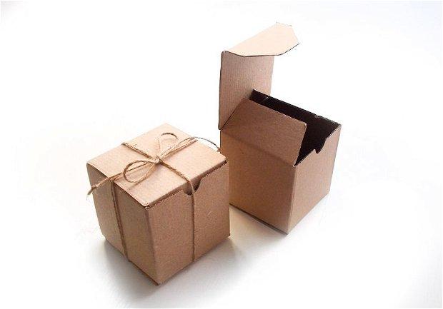 Cutie carton  cu fir de iuta   - [ 20 buc] - cub - 9 x 9 x 9 cm