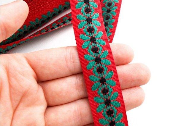 Banda textila cu motive populare - [ rola 5 m ] - rosu / verde / negru