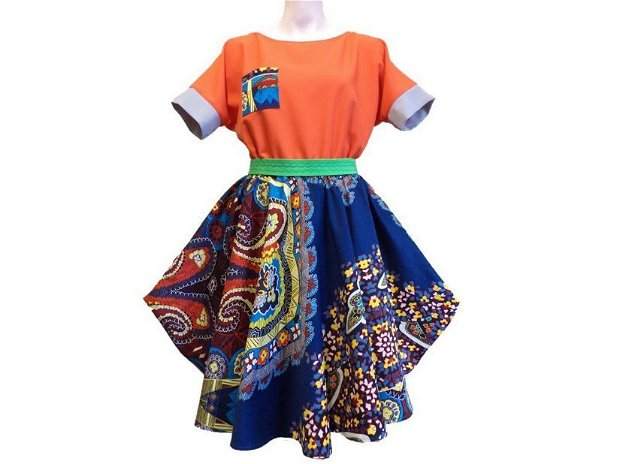 """Rochie elegantă albastru/portocaliu și brâu verde """"Dunyazad"""""""