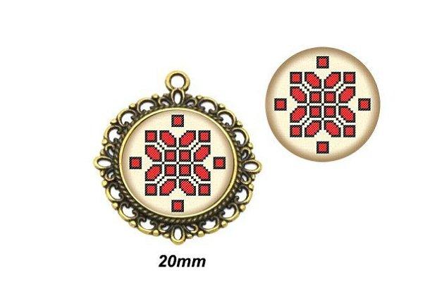 Cabochon sticla 20mm Motive traditionale