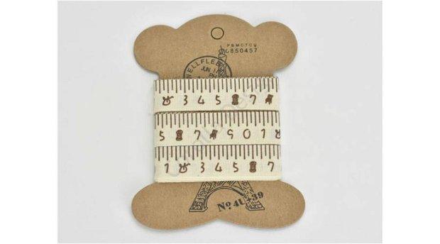 Banda decor textil - 1.5 cm/ 2.7m -cifre