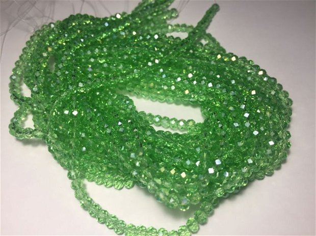 Șirag cristale (4x3,5mm) fatetate verzi, transparente