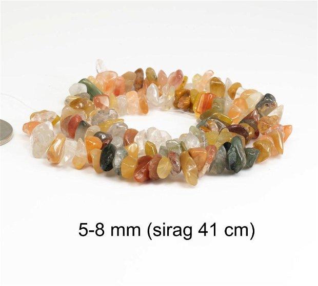 Sirag Cuart si Agate naturale, chipsuri, 5-8 mm, CH18