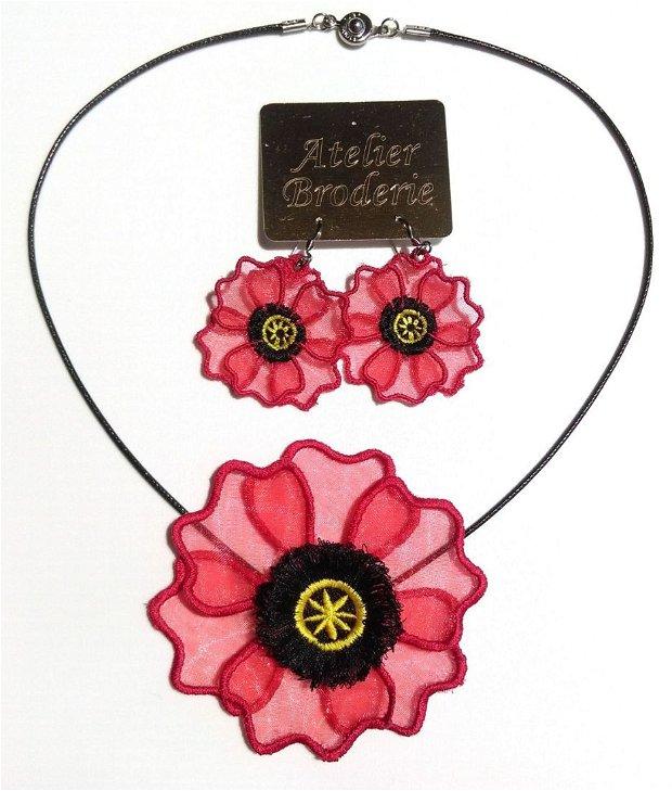 Set cercei si medalion Floare de mac